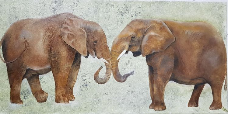 Elefant, Ein paar, Tiere, Dickhäuter, Malerei, Paar