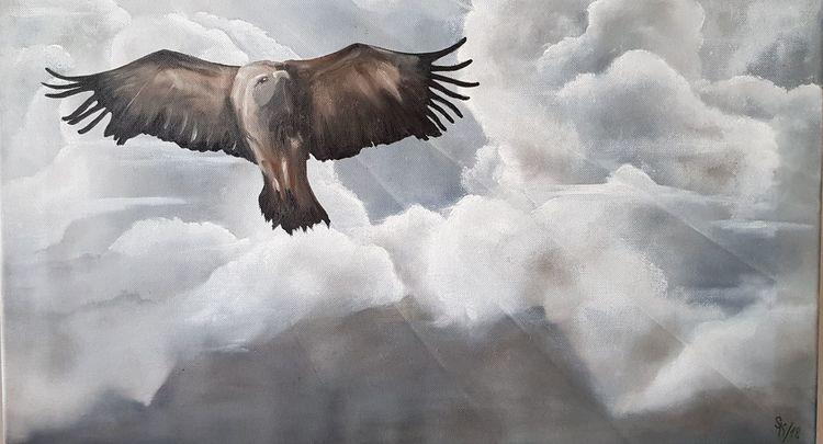 Raubvogel, Zugspitze, Greifvogel, Berge, Wolken, Malerei