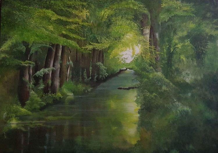 Grün, Wald, Fluss, Licht, Malerei, Natur