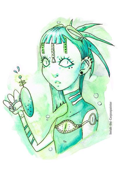 Grün, Mädchen, Wasserpistole, Cybergoth, Dreads, Piercing