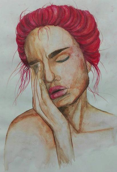 Frau, Portrait, Aquarell,