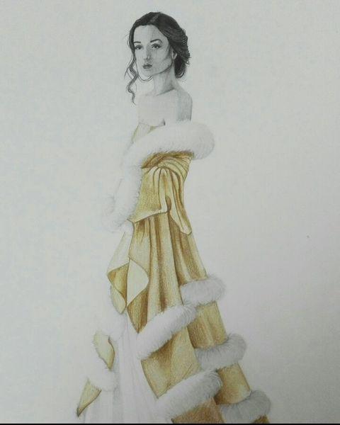 Kleid, Schwarz, Frau, Gold, Zeichnung, Mischtechnik