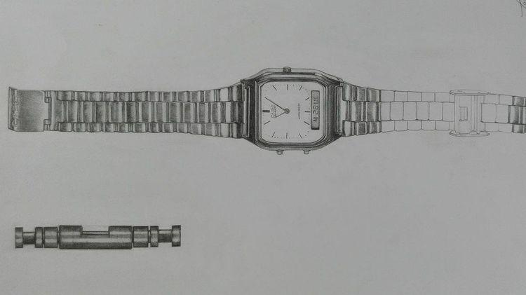 Uhr, Technik, Casio, Zeichnung