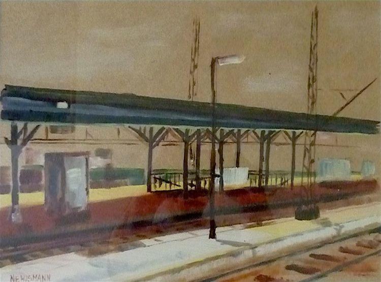 Bahnhof, Landschaft, Malerei, Braun, Bad