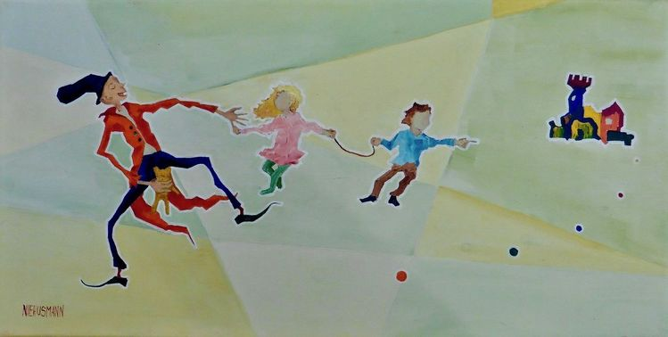 Kinder, Clown, Bär, Figur, Stadt, Malerei