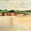 Strand, Fischer, Steilküste, Malerei