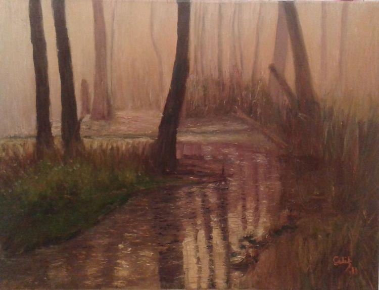 Malarstwo, Woda, Malerei, Wald, Nebel,