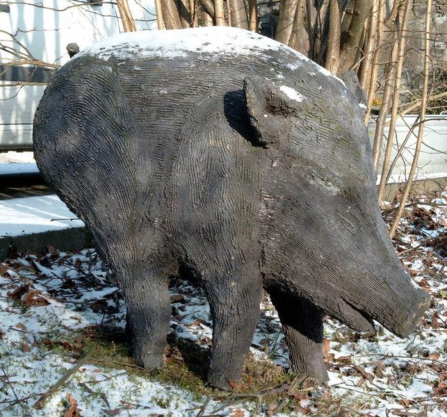 Woldschwein, Figur, Beton, Skulptur, Wild, Gartenfigur