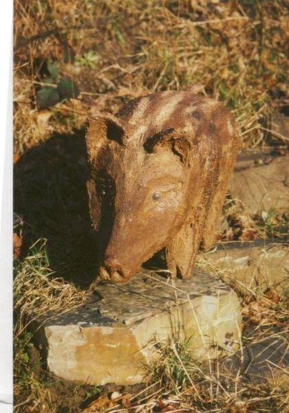 Wildschwein, Schwein, Gartenfigur, Skulptur, Figur, Beton