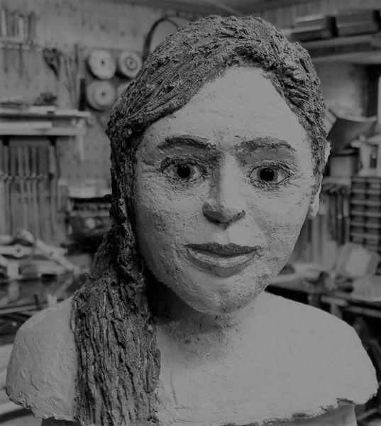 Büste, Gesicht, Beton, Mädchen, Portrait, Frau