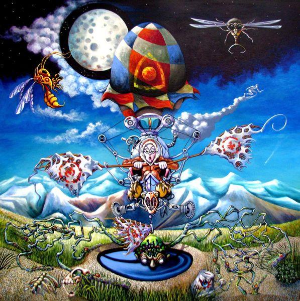 Ballonfahrer, Kreaturen, Berge, Nacht, Ballon, Malerei