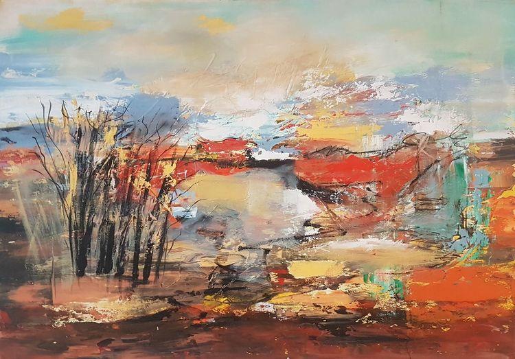 Moderne kunst, Acrylmalerei, Moderne malerei, Gemälde abstrakt, Landschaft, Abstrakte malerei