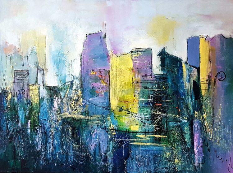 Abstrakte kunst, Zeitgenössische malerei, Blau, Lila, Abstrakte malerei, Moderne malerei