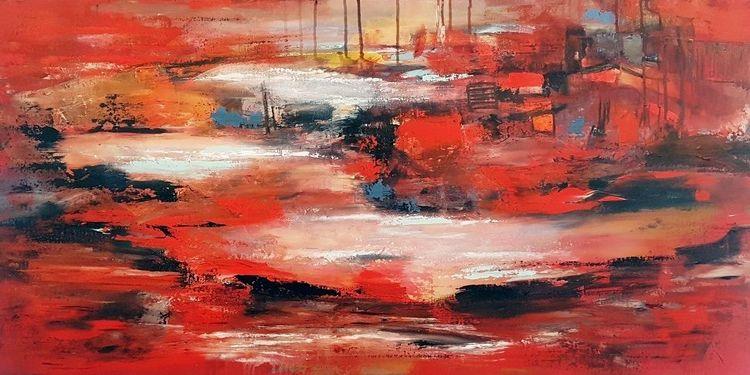 Rot, Zeitgenössische malerei, Acrylmalerei, Abstrakte malerei, Abstrakte kunst, Gemälde abstrakt
