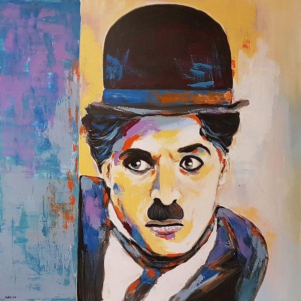 Porträtmalerei, Moderne malerei, Gesicht, Charly chaplin, Gemälde, Moderne kunst