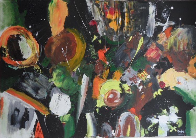Grün, Abstrakte kunst, Schwarz, Moderne kunst, Abstrakte malerei, Spachteltechnik