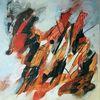 Moderne malerei, Acrylmalerei, Rot, Zeitgenössische malerei