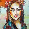 Zeitgenössische malerei, Frau, Gesicht, Abstrakte malerei
