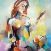 Gemälde abstrakt, Frau, Moderne malerei, Acrylmalerei