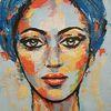 Portrait, Abstrakte malerei, Porträtmalerei, Moderne malerei