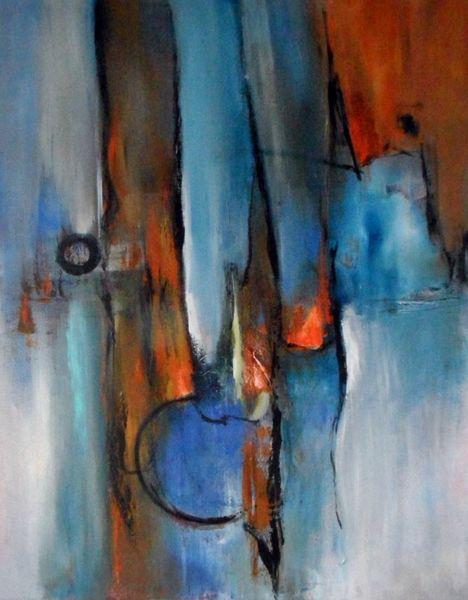 Abstrakte kunst, Blau, Moderne malerei, Moderne kunst, Orange, Abstrakte malerei