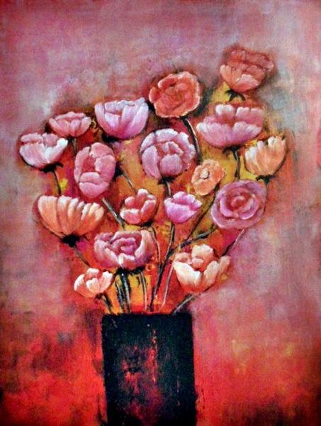 Abstrakte kunst, Blumen, Rot, Abstrakte malerei, Moderne malerei, Moderne kunst