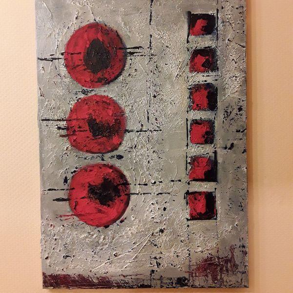 Acrylmalerei, Grau, Stuktur, Fantasie, Spachteltechnik, Rot