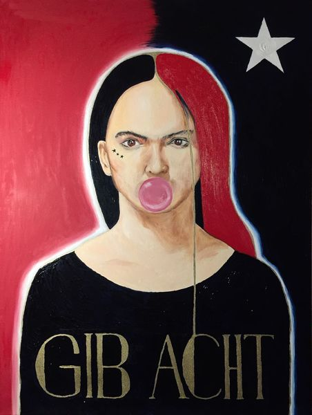 Portrait, Rot, Frau, Malerei