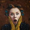 Portrait, Braun, Ölmalerei, Locken