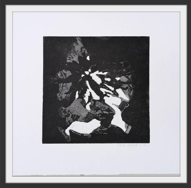 Schwarz, Druckgrafik, Abstrakt, Kleines format, Radierung, Natur