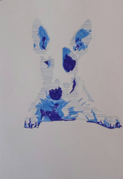 Blau, Copic, Zeichnung, Pop, Hund, Abstrakt