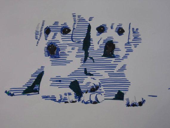 Pop art, Zeichnung, Portrait, Blau, Labrador, Copic marker