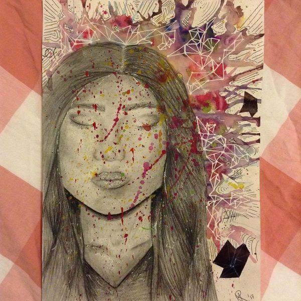 Blau, Bleistiftzeichnung, Rosa, Zeichnung, Bunt, Portrait
