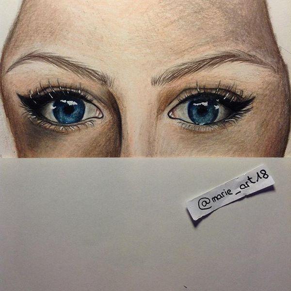 Blau, Augen, Zeichnung, Portrait, Menschen, Zeichnungen