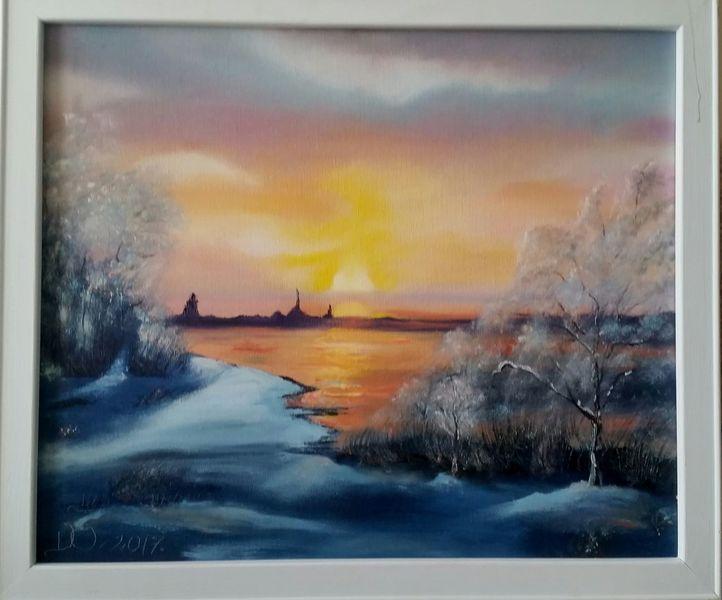 Sonnenuntergang, Fluss, Winter, Malerei, Winterabend
