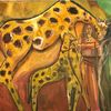 Junge frau, Malerei, Afrika