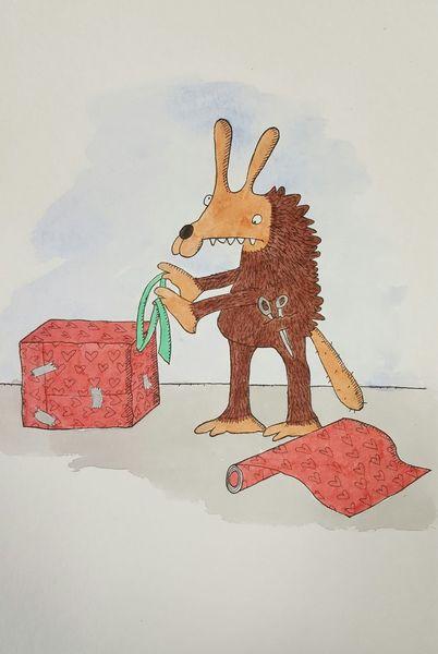 Geschenk, Weihnachten, Ratte, Zeichnungen