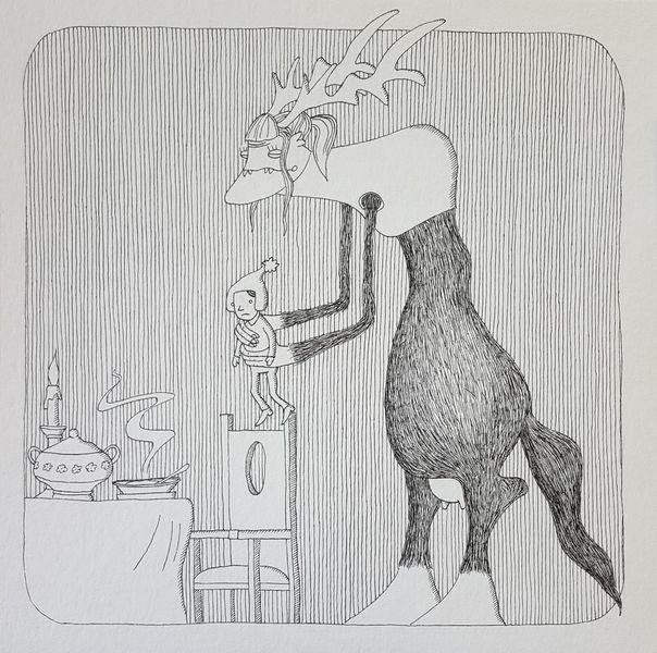 Spatz, Regenwürmer, Schnecke, Zeichnungen, Essen
