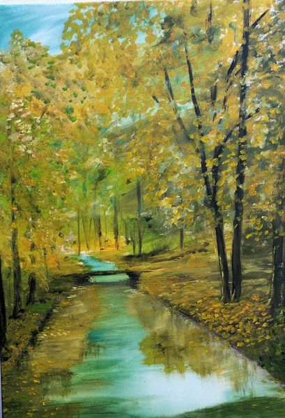 Landschaftsmalerei, Baum, Waldbach, Natur, Sommer, Landschaft