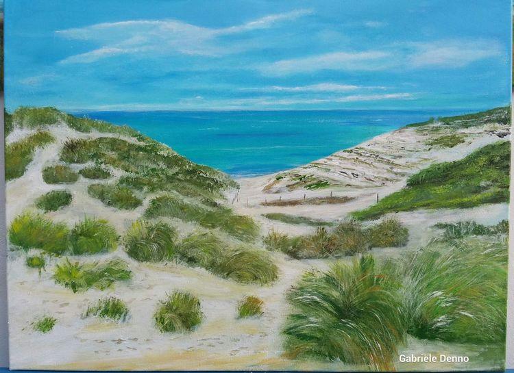 Strand, Landschaftsmalerei, Gemälde, Meer, Dünen, Mallorca