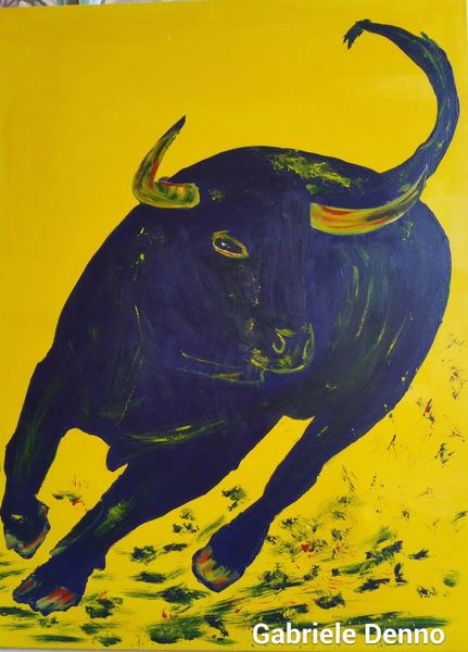 Gemälde, Der blaue stier, Stier, Bulle, Malerei, Blau