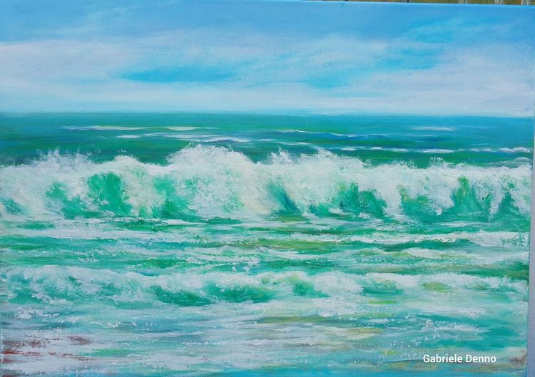 Meer, Gemälde, Welle, Mallorca, Strand, Urlaub