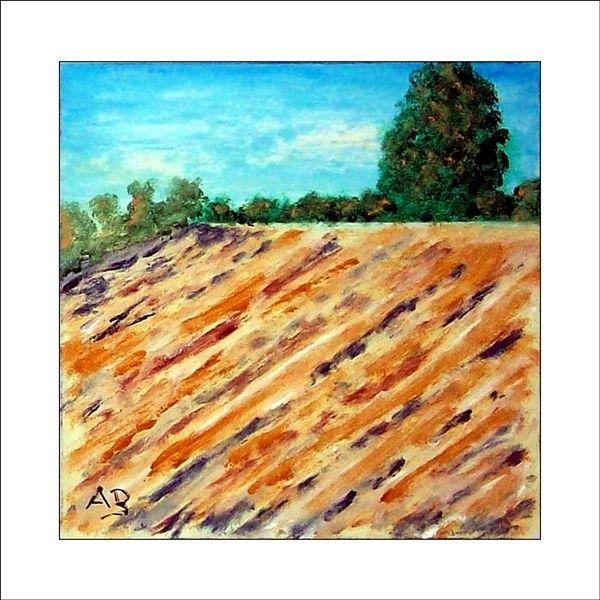 Feld, Gemälde, Malerei, Busch, Himmel, Herbst