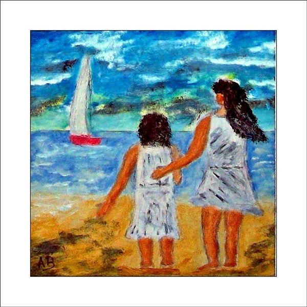 Himmel, Mädchen, Wolken, Ölmalerei, Segelboot, Moderne landschaftsmalerei