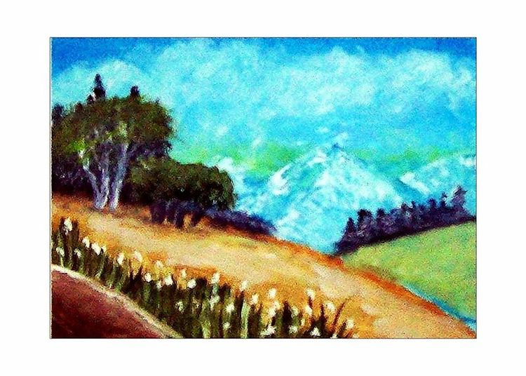 Wiese, Himmel, Ölmalerei, Berge, Gras, Sommer