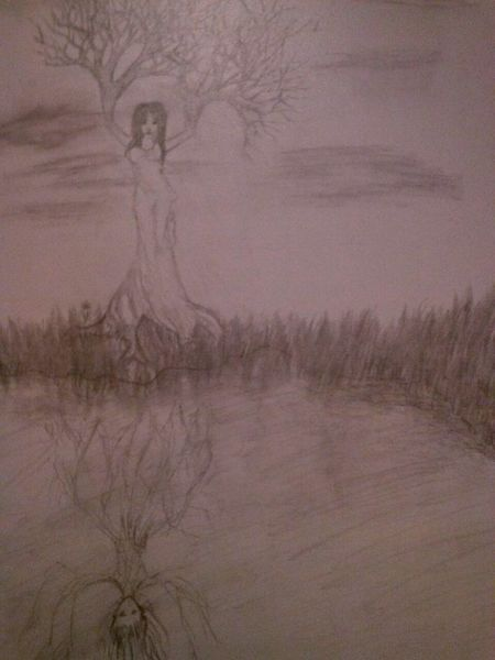Zeichnung, Fantasie, Frau, Natur, Zeichnungen, Elemente