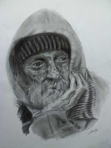 Alter mann, Grafit, Zeichnung, Armer alter mann, Straße, Schwarz weiß