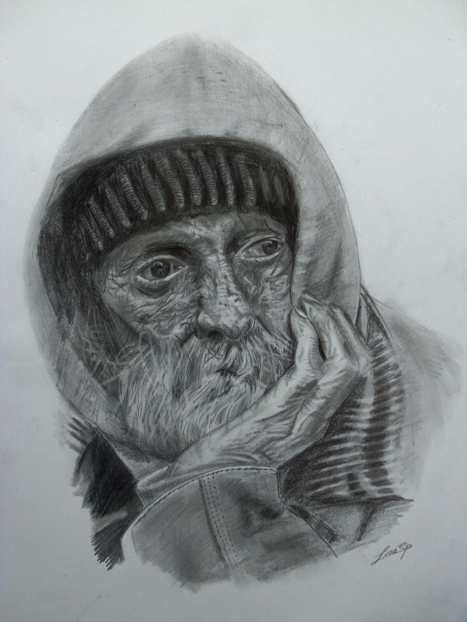 Bild: Grafit, Mann, Straße, Zeichnung von Lutz Spieß bei KunstNet