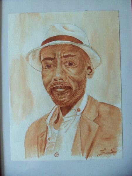 Mann, Lutz spieß, Afrikanischer mann, Sepia, Aquarellmalerei, Afrikaner