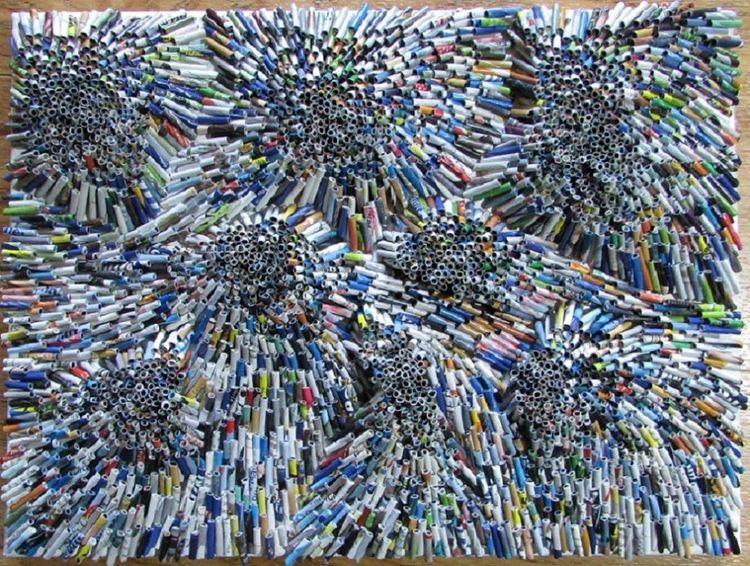 Moderne kunst, Zeitungspapier, Umweltfreundlich, Recycling, Altpapier, Mischtechnik